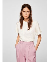 Mango - Embroidered Panel T-shirt - Lyst