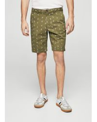 Mango - Printed 5 Pocket Bermuda Shorts - Lyst