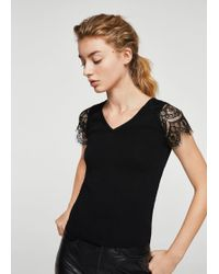 Mango - Blond Lace Panel Top - Lyst