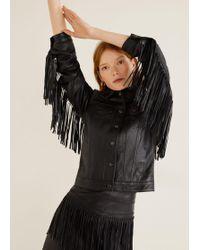 Mango - 100% Leather Fringes Jacket Black - Lyst