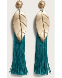 Violeta by Mango - Metal Leaf Fringed Earrings - Lyst