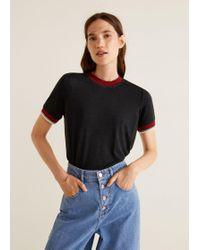 Mango - Contrast Edge T-shirt - Lyst