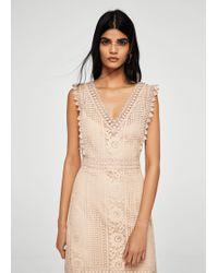 Mango - Blond-lace Appliqué Dress - Lyst