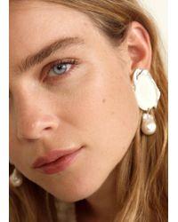 Mango - Pearl Detail Metallic Earrings - Lyst