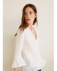 Mango - Striped Cotton Blouse - Lyst