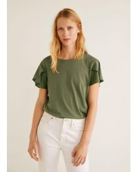Mango - Ruffled Sleeve T-shirt - Lyst