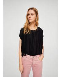 Mango - Fringe Cotton T-shirt - Lyst