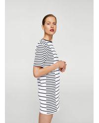 Mango - Striped Cotton Dress - Lyst