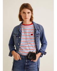 Mango - Embroidery Striped T-shirt - Lyst