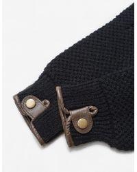 Mango - Leather Detail Gloves - Lyst