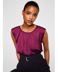 Mango - Ruched Neck Blouse - Lyst
