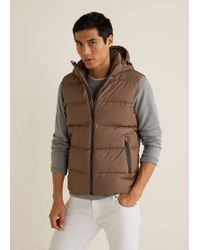 Mango - Feather Down Hooded Gilet - Lyst