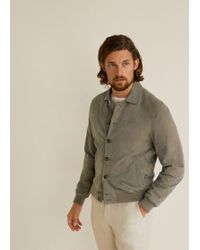 Mango - Buttoned Suede Jacket - Lyst