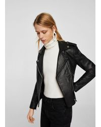 Mango | Leather Biker Jacket | Lyst