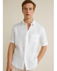 4554f2408e71 Mango Slim Fit Striped Linen Shirt in Blue for Men - Lyst