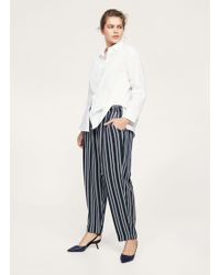 Violeta by Mango - Striped Baggy Trousers - Lyst