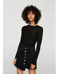 Mango - Studded Denim Skirt - Lyst