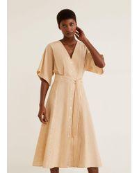 fc1569f46b Mango Linen-blend Midi Dress in Natural - Lyst
