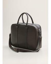 Mango Zip-pockets Pebbled Tote Briefcase - Brown