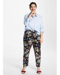 Violeta by Mango - Flowy Floral Trousers - Lyst