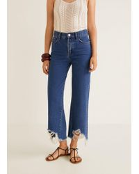 Mango - Frayed Finish Flare Jeans - Lyst