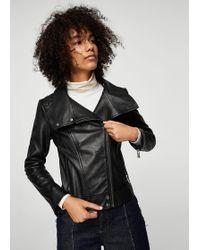 Mango - Lapels Leather Jacket - Lyst
