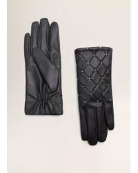 Mango - Studded Gloves - Lyst