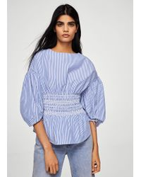Mango - Ruched Detail Striped Blouse - Lyst