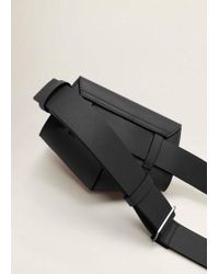 Mango - Flap Belt Bag Black - Lyst
