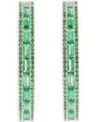 Katherine Jetter - Emerald Baguette Hoop Earrings - Lyst