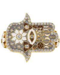 Buddha Mama - Grey Enamel And Diamond Hamsa Double Ring - Lyst