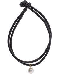 Mizuki - Freshwater Pearl Clip On Leather Wrap - Lyst