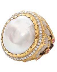 Victor Velyan - Cherry Blossom Round Pearl Ring - Lyst