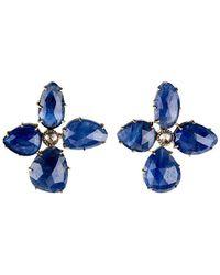 Sylva & Cie - Faceted Sapphire Flower Earrings - Lyst