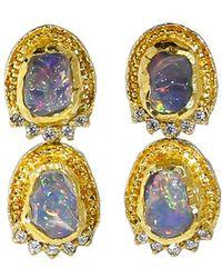 Victor Velyan - Fire Opal And Diamond Earrings - Lyst