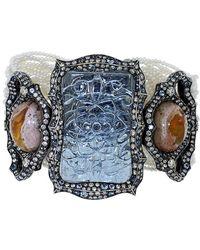 Arunashi - Carved Aquamarine And Fire Opal Bracelet - Lyst