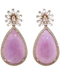 Dana Rebecca - One Of A Kind Pink Sapphire And Moonstone Earrings - Lyst