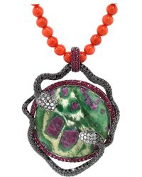 Wendy Yue - Ruby Zoisite And Coral Bead Necklace - Lyst