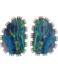 Sylva & Cie - Opal And Diamond Petal Earrings - Lyst