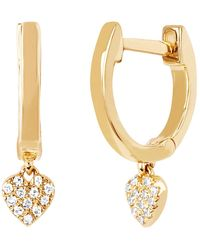 EF Collection - Diamond Heart Drop Huggie Earrings - Lyst
