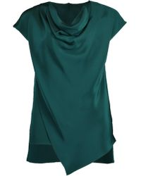Adam Lippes - Emerald Silk Crepe Cowl Neck Top - Lyst