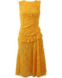 Oscar de la Renta - Gathered Waist Lace Dress - Lyst