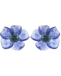 Irene Neuwirth Tanzanite And Green Tourmaline Carved Flower Earrings - Blue