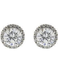Fantasia Jewelry - Round Stud Cubic Zirconia Earrings - Lyst