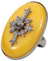 Bochic - Yellow Oval Jade Ring With Diamonds - Lyst