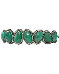 Sutra - Sliced Emerald And Diamond Bracelet - Lyst