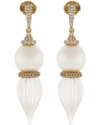 Inbar - Pearl And Carved White Quartz Earrings - Lyst