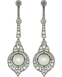 Fred Leighton - Art Deco Natural Pearl And Diamond Earring - Lyst