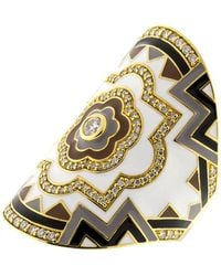 Buddha Mama - White Enamel And Diamond Wrap Ring - Lyst