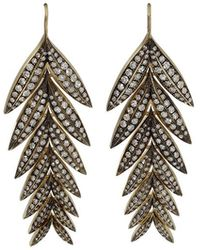 Sylva & Cie - Diamond Feather Earrings - Lyst